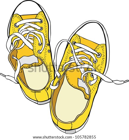 Hand drawn pair of yellow sneakers. Vector illustration. Raster version is in my portfolio.