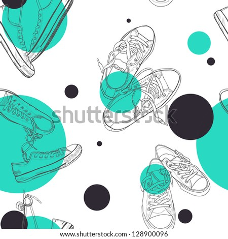 Hand drawn pairs of sneakers outlines seamless pattern. Vector illustration.