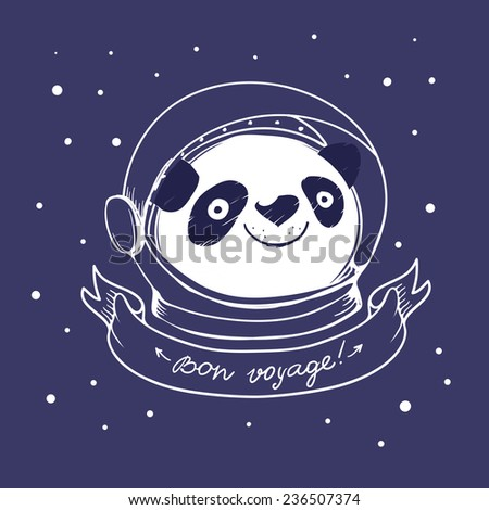 hand drawn panda astronaut and