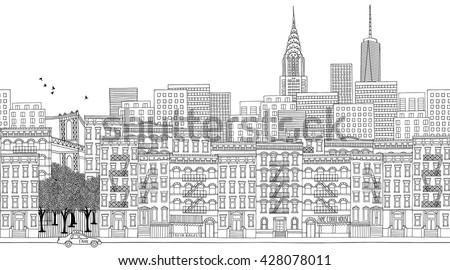 hand drawn panorama of new york