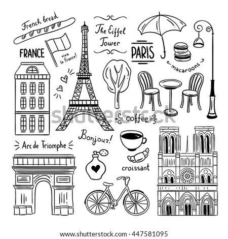 hand drawn paris and france