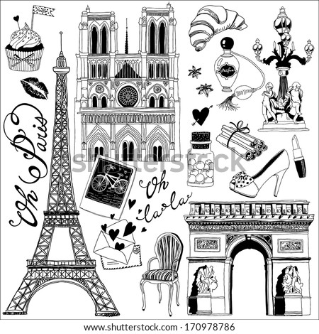 hand-drawn Paris symbols set