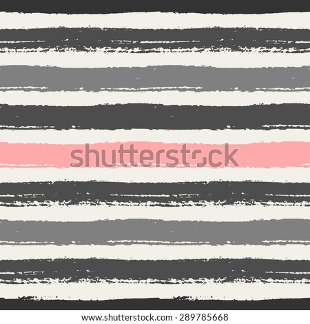 Hand drawn pastel pink, light and dark gray stripes seamless pattern. Horizontal brush strokes repeating vector texture.