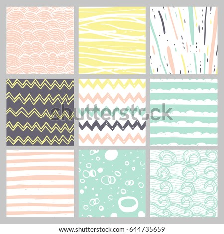 stock-vector-hand-drawn-pattern-collection-simple-textures-for-bacgkround-fabric-scrapbook-baby-shower-or