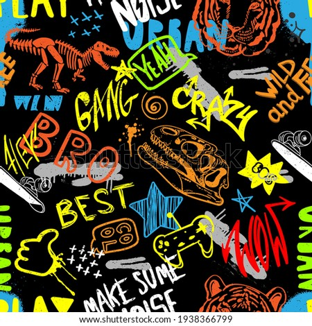 hand drawn pattern for boys. Slogans, graffiti background. For children's textiles, wrapping paper, prints  Photo stock ©