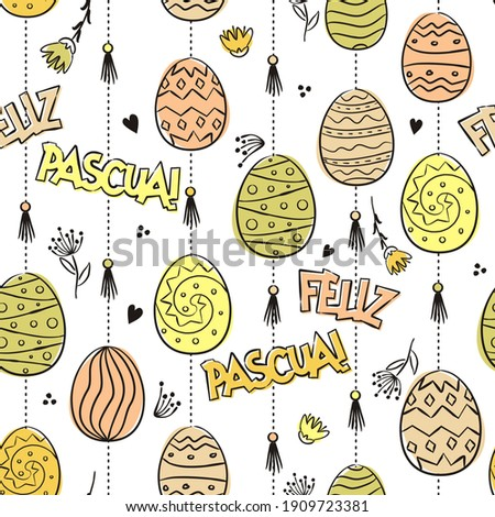 hand drawn pattern with easter