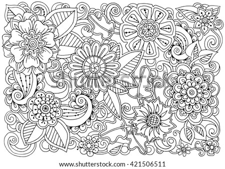 hand drawn pattern with flowers