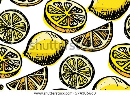 hand drawn pattern with lemon