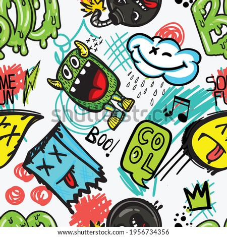 hand drawn pattern with monsters for boys. Slogans, graffiti background. For children's textiles, wrapping paper, prints