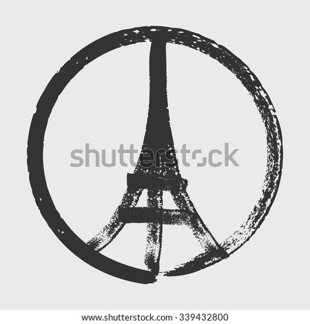 hand drawn peace for paris