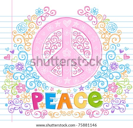 Hand-Drawn Peace Sign Lettering Notebook Doodle Design Elements with Swirls and Flowers- Vector Illustration on Lined Sketchbook Paper Background