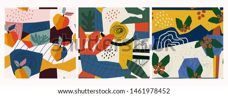 Hand drawn peaches, berries, leaves and various shapes, spots, dots and lines. Different colors. Set of three abstract contemporary patterns. Modern patchwork illustrations in vector