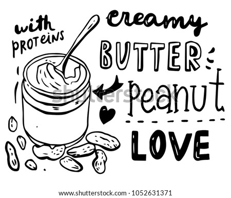 Hand drawn peanut butter set with lettering