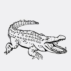 Hand-drawn pencil graphics, crocodile, alligator, croc. Engraving, stencil style. Black and white logo, sign, emblem, symbol. Stamp, seal. Simple illustration. Sketch.