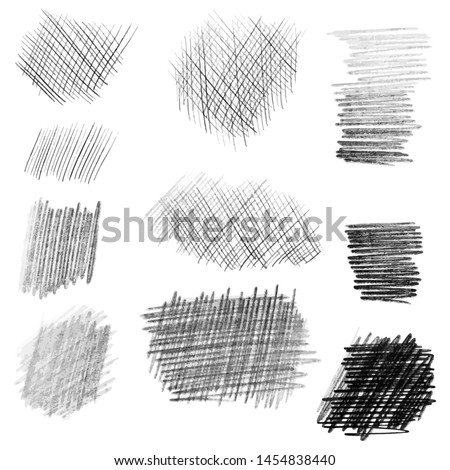 Hand drawn pencil texture set, different shapes. Doodle and sketch style. Stockfoto ©