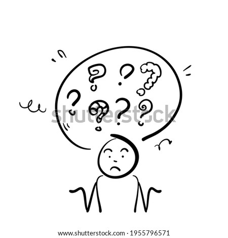 hand drawn people confuse to Decide right solution for questions dilemma situations illustration in doodle Stock fotó ©