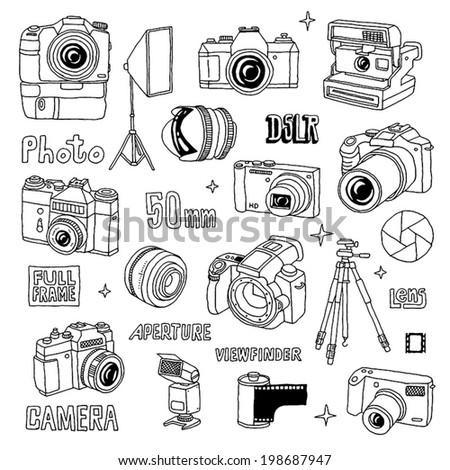 hand drawn photo cameras set 1