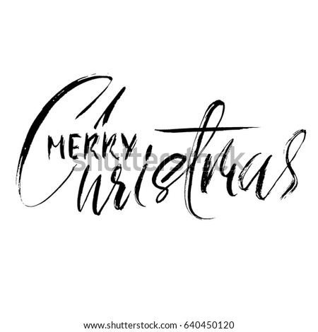 Hand drawn phrase Merry Christmas. Modern dry brush lettering design for posters, cards, invitations, stickers, banners, ets. Vector typography illustration. #640450120