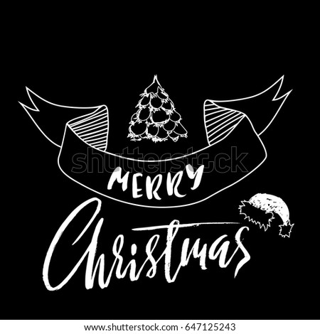 Hand drawn phrase Merry Christmas. Modern dry brush lettering design for posters, cards, invitations, stickers, banners, ets. Vector typography illustration.