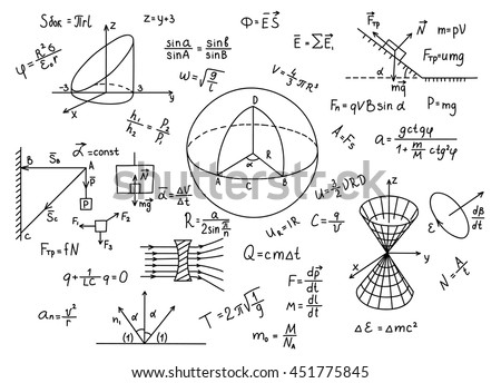 hand drawn physics formulas