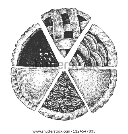 hand drawn pies top view
