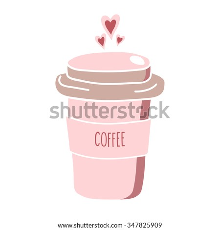 hand drawn pink coffee to go