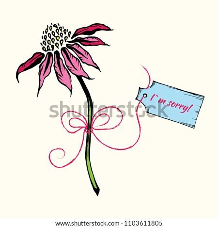 hand drawn pink flower with