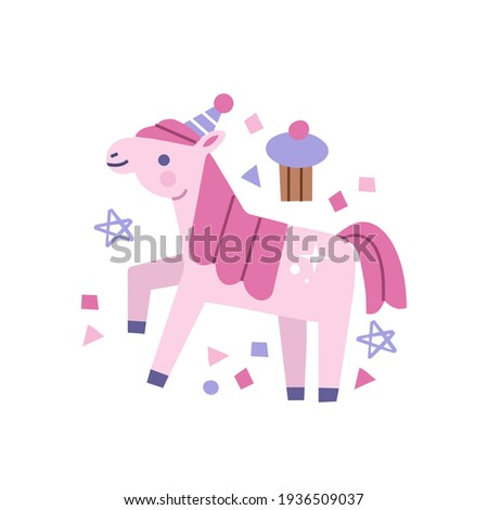 hand drawn pink pony character