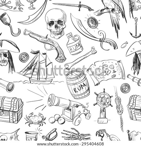 Hand drawn pirates pattern, excellent vector illustration, EPS 10