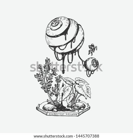 Hand drawn plants and honey with surrealism style. Retro style, Vintage style. Doodle line graphic design. Black and white drawings, Vector sketch. - Vector