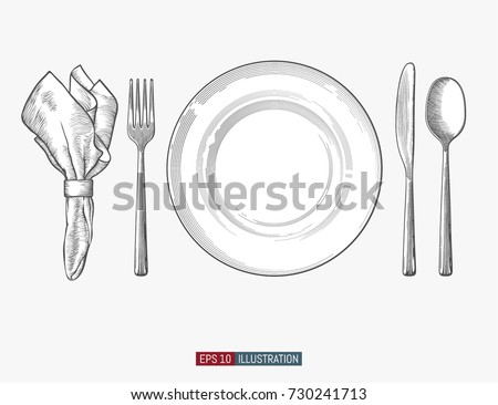 Hand drawn plate, napkin, fork and knife. Engraved style vector illustration. Elements for your design works.