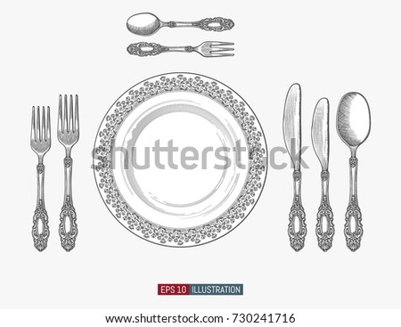 Hand drawn plate spoons, forks and knifes. Engraved style vector illustration. Elements for your design works.