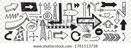 Hand drawn pointers doodle set. Collection of pen ink pencil drawing sketches direction boards and arrows isolated on transparent background. Illustration of different road or touristic placards. Сток-фото ©