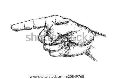 Hand drawn pointing finger illustration vector