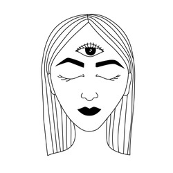 Hand-drawn portrait of a girl with the third eye. Vector outline illustration. Esoteric symbolism, abstract surreal and spiritual. Prognostication of the 3d eye. Tattoo or logo design concept