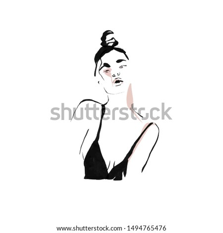 Hand drawn Portrait of a model beautiful girl. Woman face painting by colors lines in minimalism abstract style. Salon fashion glamour logo.