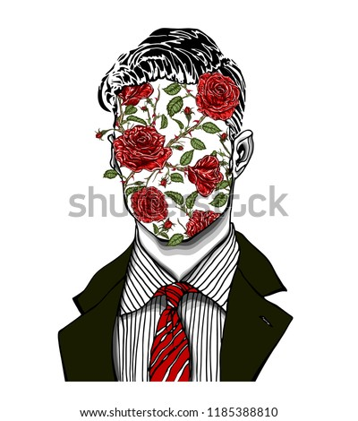 Hand drawn portrait of a strange handsome man with anonymous face with red roses, buds, stems and green leaves. Head in modern surreal tattoo art. Isolated vector illustration.