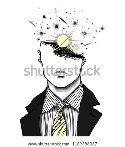 Hand drawn portrait of a strange handsome man with broken head from which planets ad galaxies explode. Portrait in modern and surreal tattoo art. Isolated vector illustration.