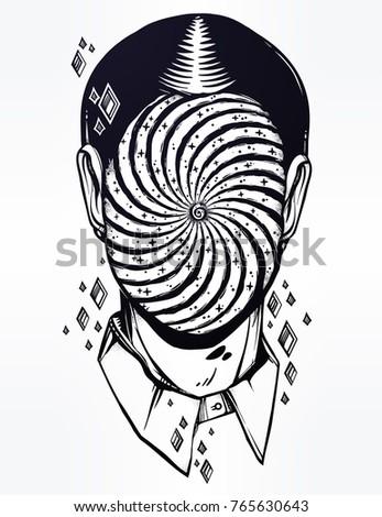 hand drawn portrait of a weird