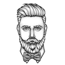 Hand drawn portrait of bearded man full face. Vector illustration.