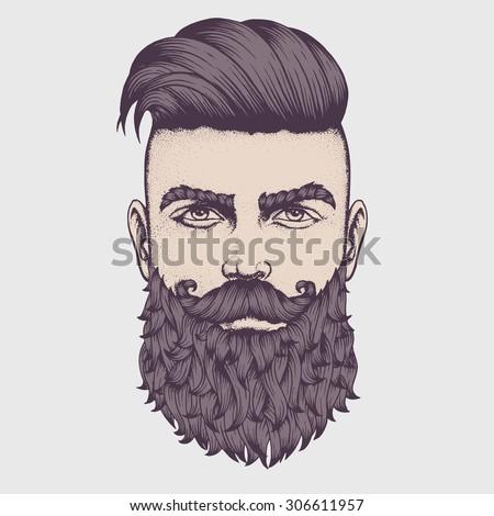 Hand drawn portrait of bearded man full face. Vector illustration