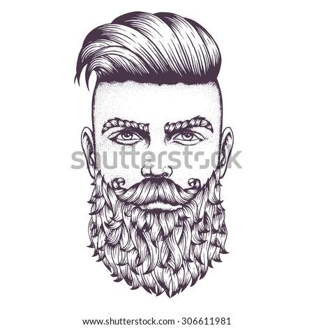 hand drawn portrait of bearded