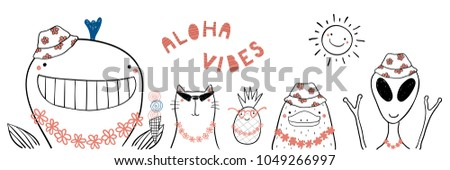 Hand drawn portrait of cute funny animals in flower chains, bucket hats, under summer sun. Isolated objects on white background. Line drawing. Vector illustration. Design concept for children print.