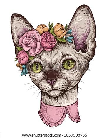 hand drawn portrait of cute