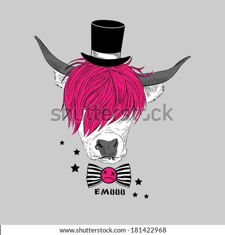 Hand drawn portrait of emo cow