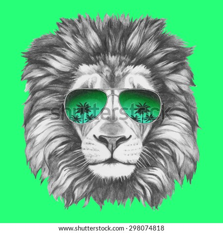 Hand drawn portrait of Lion with sunglasses. Vector isolated elements.
