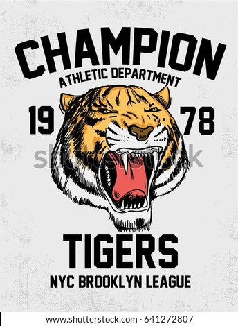 Hand drawn portrait of tiger. Vintage NYC Brooklyn college typography.