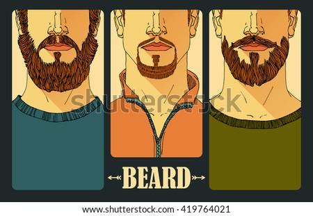 "Hand drawn. Portraits of three bearded men. ""Beard"" inscription."