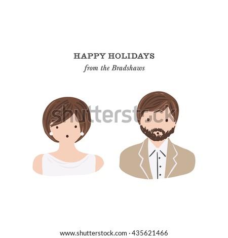 Hand drawn portraits vector illustration