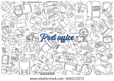 Doodle letters vector pack download free vector art stock hand drawn post office doodle set background with blue lettering in vector altavistaventures Images